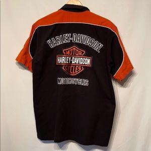 Harley-Davidson Orange & Black Shirt Large